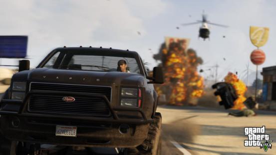 主角开车被直升机追